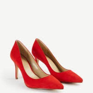 Ann Taylor Red Mila Suede Pumps Size 10